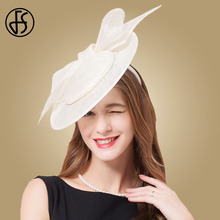 FS 2019 Summer Sinamay Derby Hat Fascinator White Women Linen For Church Ladies Elegant Big Bowknot Kentucky Vintage Fedoras
