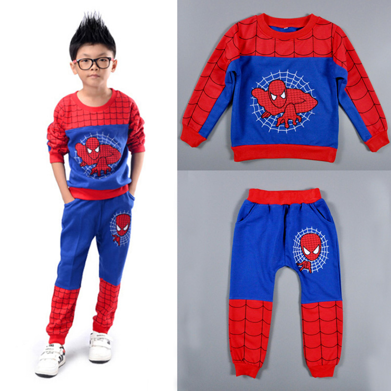 <font><b>Spiderman</b></font> Christmas Boys <font><b>Sets</b></font> Long Sleeve <font><b>Hoodies</b></font>+Trousers Boy Sports <font><b>Sets</b></font> Cartoon Spring Autumn Clothes <font><b>Kids</b></font> Clothes enfant