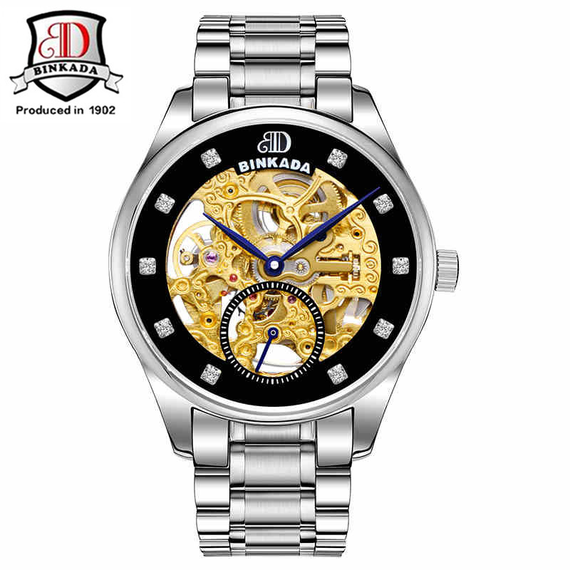 BINKADA Mens Tourbillon Automatic mechanical Watches Male Top Brand Luxury Dive 100M Business full steel watch Relojes Watches forsining mens watch top brand luxury tourbillon militarysport watch male business skeleton watches automatic mechanical watches