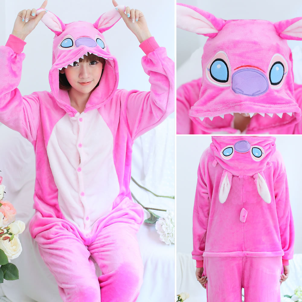 Image 2 - 2019 Flannel Animal unicorn Pajamas Sets Women Men Adults onesies unicorn Panda Stitch Cosplay Winter Warm Hooded Sleepwear-in Pajama Sets from Underwear & Sleepwears