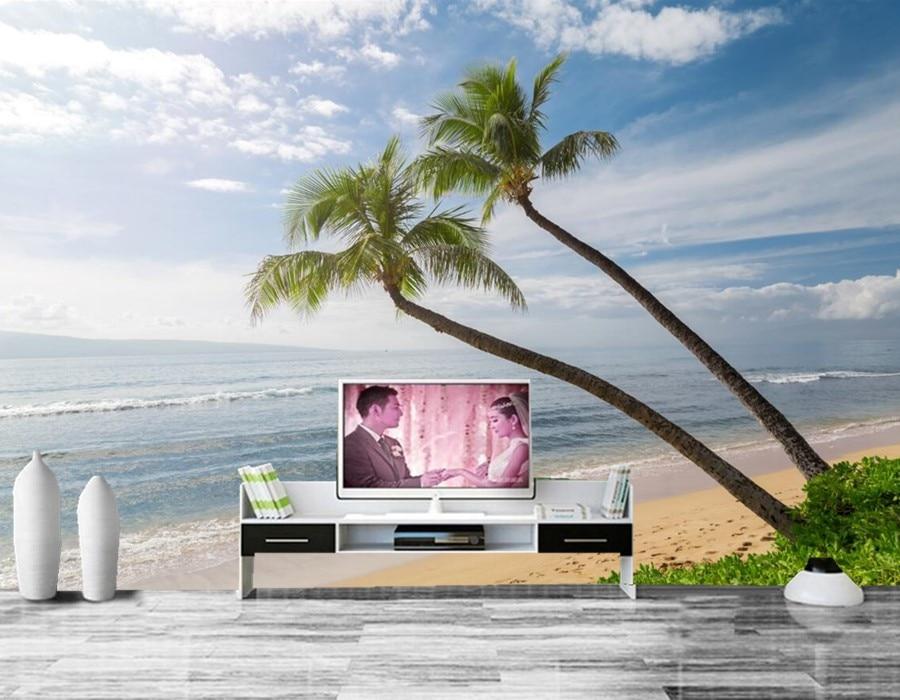 Coast Waves Sky Ocean Hawaii Palma Sand Nature wallpapers papel de parede,living room tv sofa wall bedroom 3d wallpaper murals