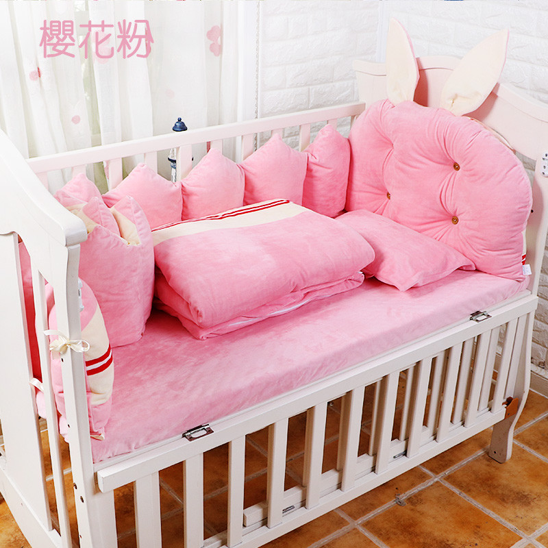 Winter Soft Baby Crib Bedding Set, Baby Cot Set Bed Linen 9pcs, Baby Bedding Set include Bumpers Quilt Pillow Mattress Cover promotion 6pcs baby bedding set cot crib bedding set baby bed baby cot sets include 4bumpers sheet pillow