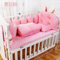 Winter Soft Baby Crib Bedding Set, Baby Cot Set Bed Linen 9pcs, Baby Bedding Set include Bumpers Quilt Pillow Mattress Cover