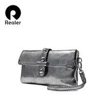 REALER Brand Fashion Women Genuine Leather Day Clutch High Quality Evening Bag Female Crossbody Bags Serpentine