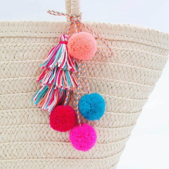 New Fashion Pompom Tassel Key Chains For Women Bag Pom Pom Ethnic Keychain Bohe