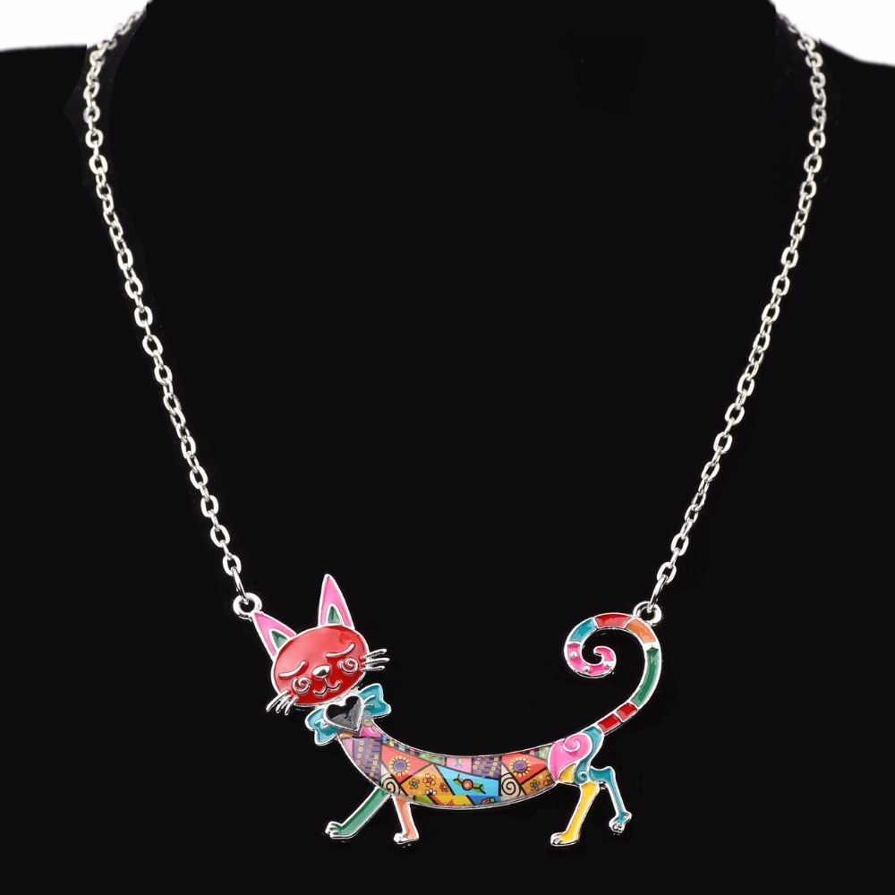 Bonsny Statement Maxi Enamel Kitten Cat Choker Necklace Alloy Pendant Chain Collar Animal Pets  Accessories Jewelry For Women