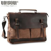 UNISOUL Canvas Leather Men's Bags 2016 New Original Handbag Vintage travel bag Male Crossbody Bag Fashion Cowhide Messenger Bags