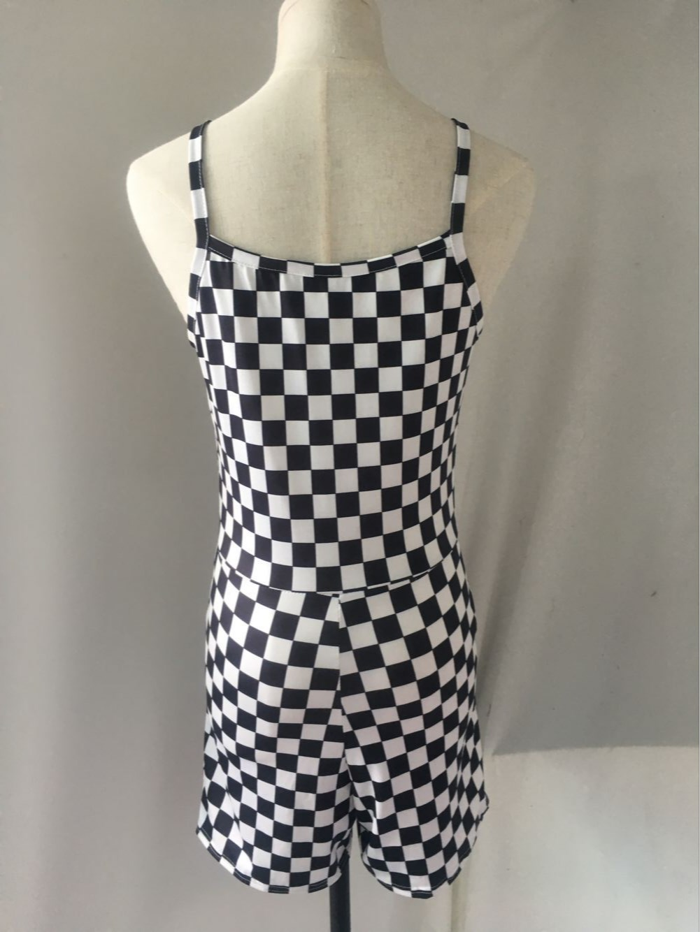 6aec9fcc257 2018 Summer Women Black White Checkered Backless Strapless Romper  Checkerboard Casual Short Overalls-in Rompers from Women s Clothing on  Aliexpress.com ...