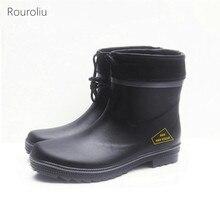 Rouroliu Men Non-Slip Water Boots Autumn Winter Waterproof Safety Work Shoes Platform Rubber Rainboots Man Wellies FR62