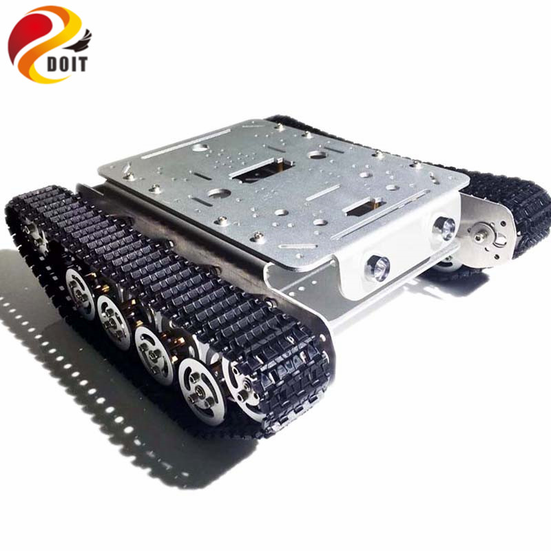 DOIT Shock Absorption TSD200 4WD Metal Crawler Remote Control Tank Car Chassis Aluminum Alloy Wheels Smart Robot Toy for DIY