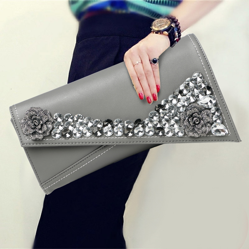 New Fashion Genuine Leather Diamond Clutch Bag Korean Style New Large Capacity Party Soft Cowhide Cover Elegant Day Clutches famous brand luxury cowhide genuine leather day clutches women large capacity butterfly diamond cover shoulder envelope hand bag