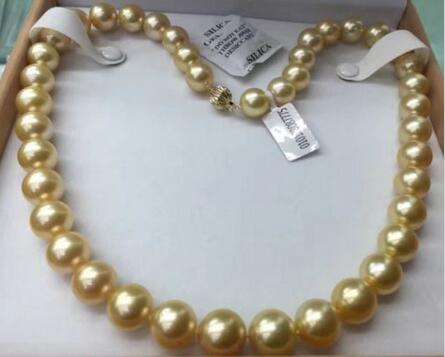 Livraison gratuite>>>> bijoux nobles 12-15mm naturel mer du sud collier de perles en or 14 K or