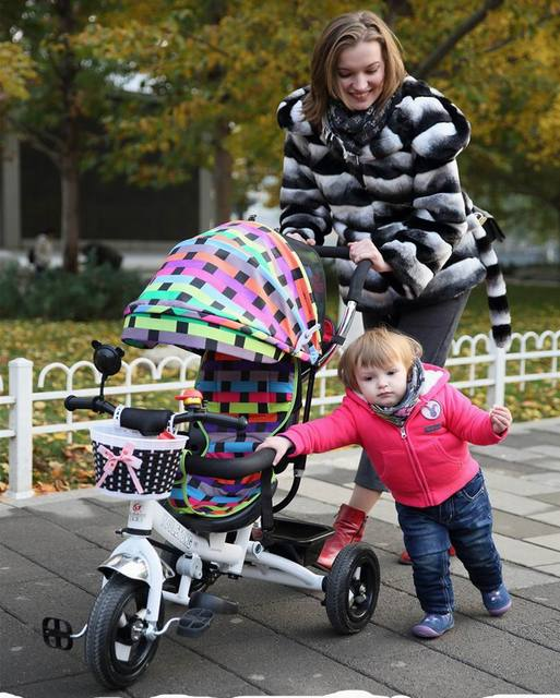 2016 high quality  pneumatic tire Baby child tricycle trolley baby stroller baby carriage bike bicycle for 6 month--6 years old
