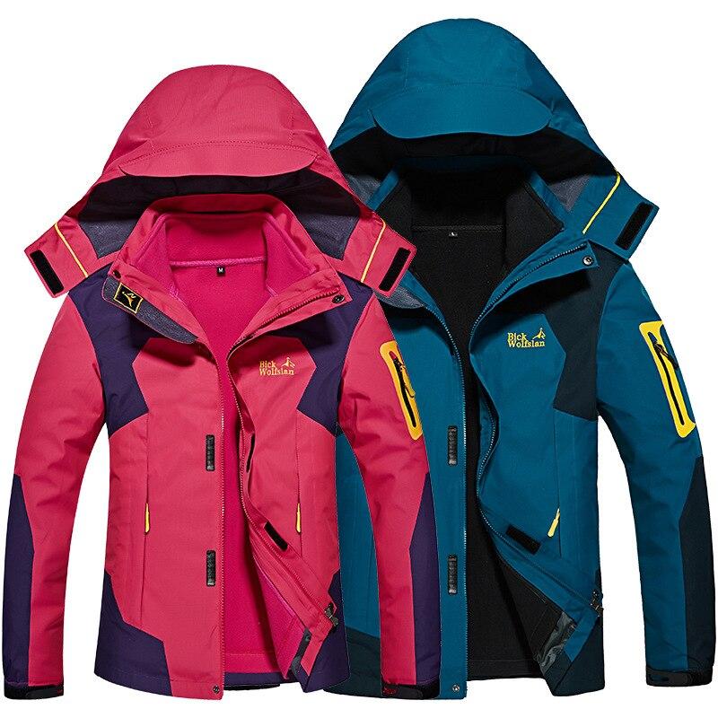 2017 hommes et femmes Softshell vestes imperméables sports de plein air hiver vêtements chauds Camping Trekking randonnée homme et femme veste de Ski