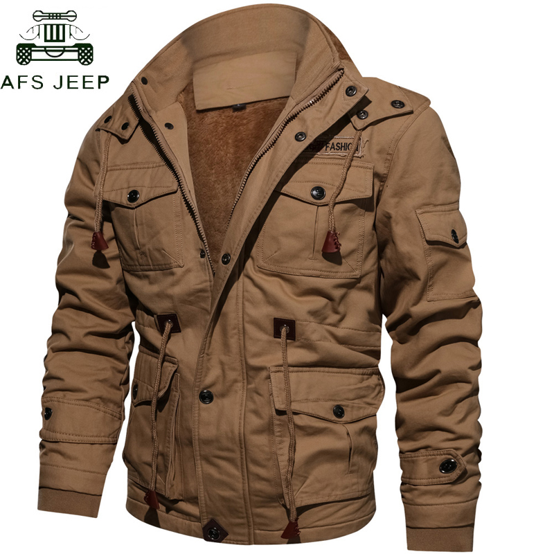 Drop Shipping Thick Warm Mens Parka Jacket Winter Fleece Multi-pocket Casual Tactical Army Jacket Men Plus Size 4XL Hooded Coat pocket