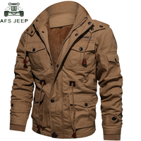 Drop Shipping Thick Warm Mens Parka Jacket Winter Fleece Multi pocket Casual Tactical Army Jacket Men Plus Size 4XL Hooded Coat