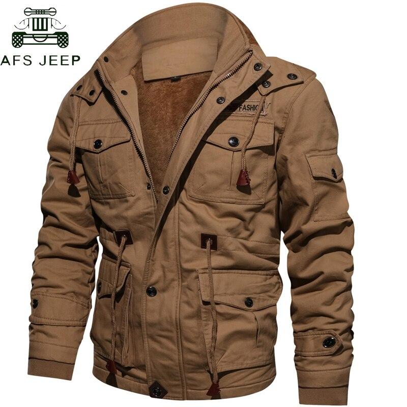Livraison directe épais chaud hommes Parka veste hiver polaire multi-poche décontracté tactique armée veste hommes grande taille 4XL manteau à capuche