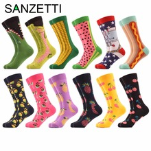 SANZETTI 12 pairs/lot Men's Colorful Combed Cotton Dozen Packs Casual Funny Socks