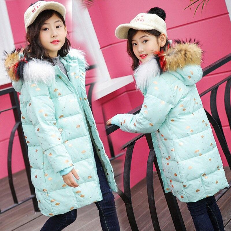 Girls Down Jacket 2018 Winter New Fashion Fur Collar Hooded 6-15T Children's White Duck Down Coat Warm Jacket High Quality viishow winter down jacket men new 75 page 6