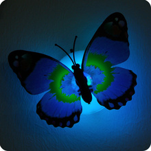 5pcs Luminous Butterfly lamp Night light Flashing Colorful wall lamp chuck and stickers Indoor lighting party supplies
