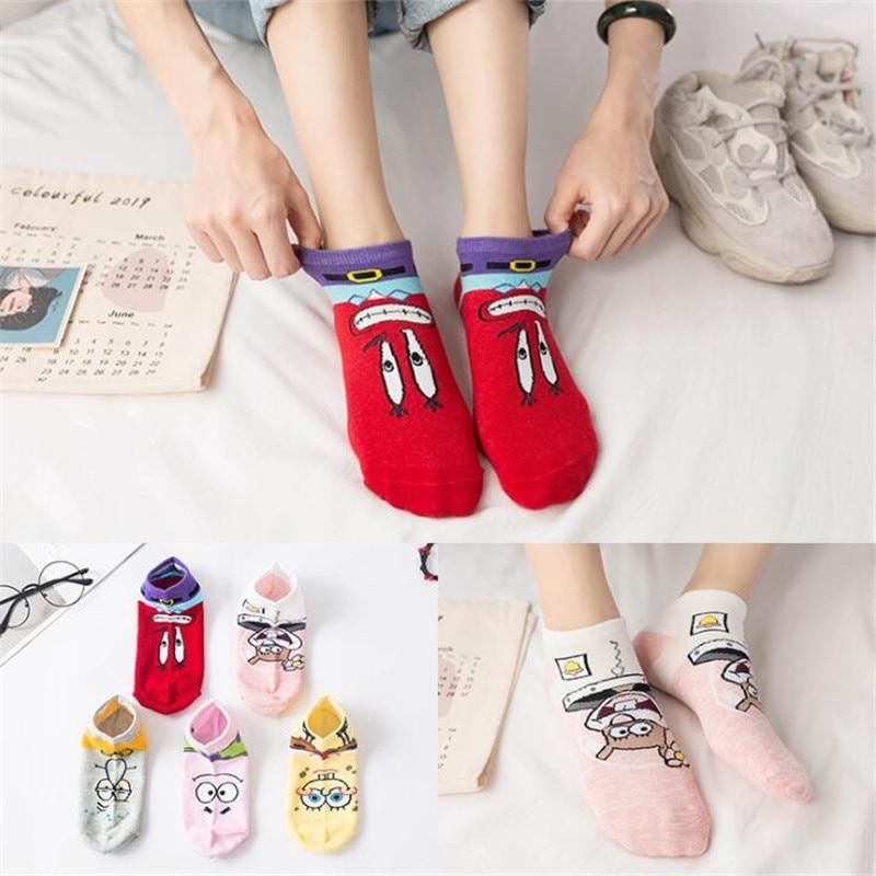 Fashion Cartoon Character Cute   Socks   Women Harajuku Kawaii Patterend Short   Socks   Hipster Ankle Funny SpongeBob   Socks   For Female