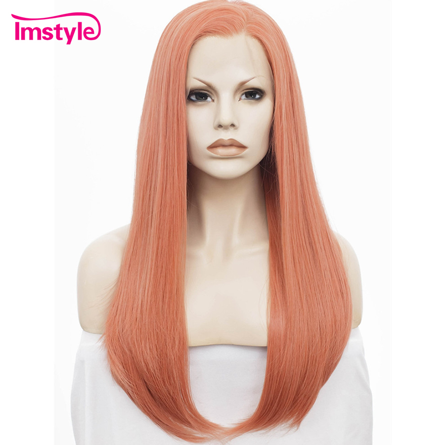 Imstyle Straight Synthetic Rose golden 24 pulgadas peluca larga de - Cabello sintético