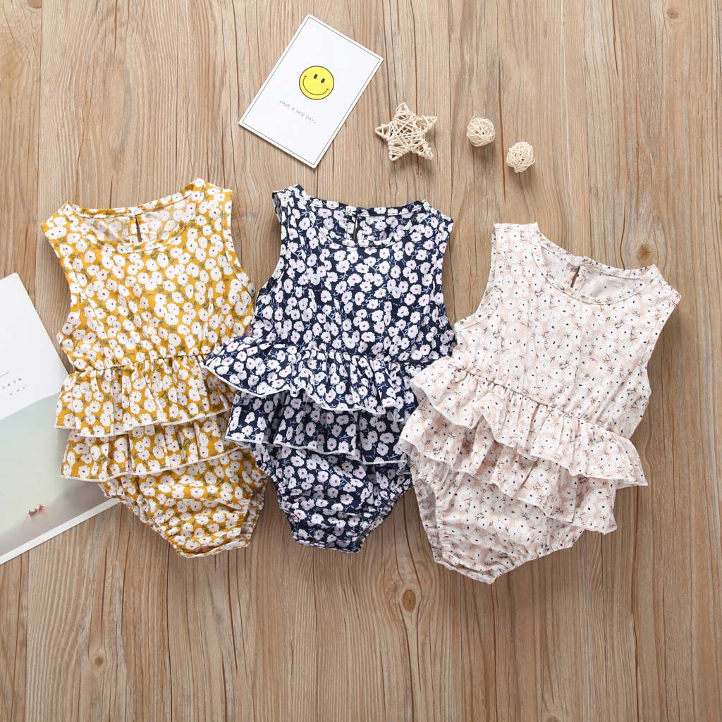 Newborn Kid Girl   Romper   Infant Sleeveless Floral Jumpsuit   rompers   baby summer ribbed baby clothes jumpsuit baby Dropshipping