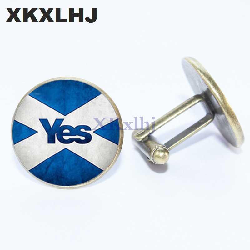 XKXLHJ 2018 Yeni Moda iskoç bayrağı Kol Düğmeleri İskoç Bağımsızlık Evet kol düğmeleri Gömlek Kol Düğmeleri Mens