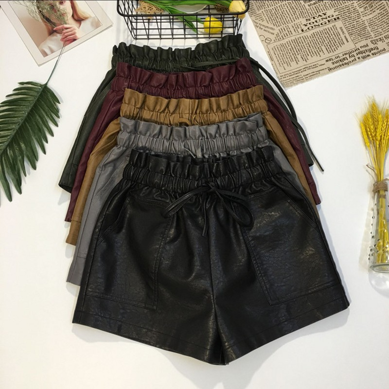 2018 Spring New Arrival Korean Style Leather   Shorts   High Waisted Loose Wide Leg   Shorts   Women Elastic Waist   Shorts   Free Shipping