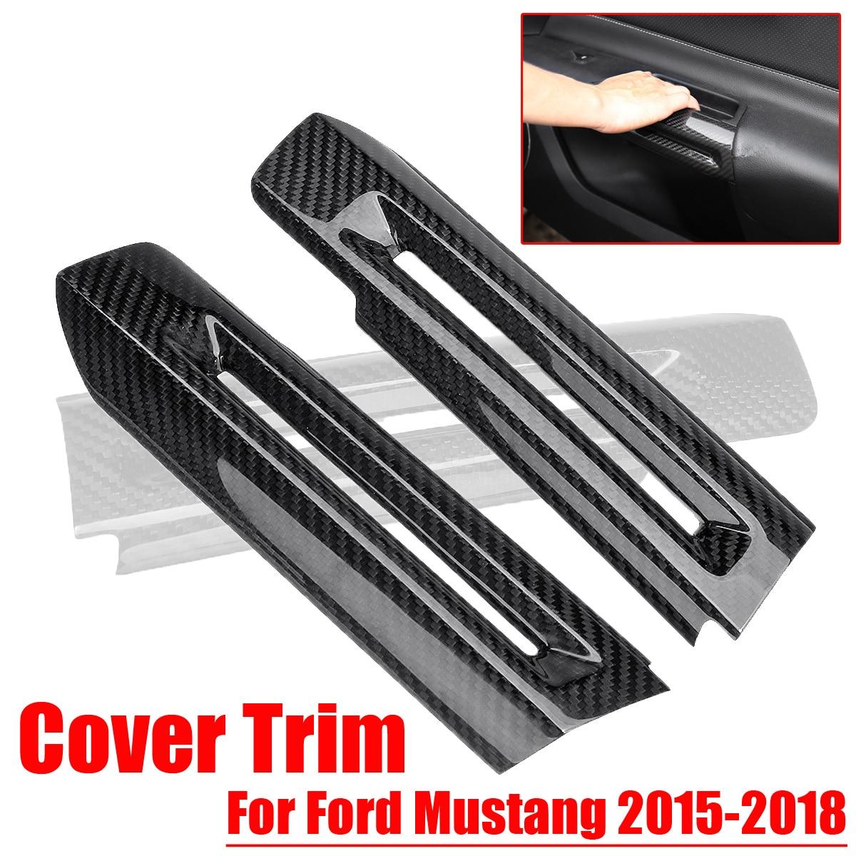 2 Stks Auto Interieur Deurklink Kom Cover Trim Rvs Carbon Fiber Stijl Auto Stickers Voor Ford Voor Mustang 2015 -2018 Ongelijke Prestaties