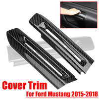 2Pcs Car Interior Door Handle bowl Cover Trim StainlessSteel Carbon Fiber Style Car Stickers for Ford for Mustang 2015 2018