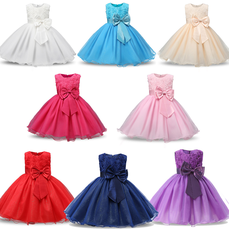 Sleeveless Flower Dress for Girls Formal Wedding Party Dresses Kids Princess Christmas Mesh Dress Costume Kids Girl Clothing