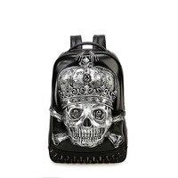 Vintage Punk Style 3D Skeleton Skull Backpack for Men Women High Quality PU Leather Rucksack Personalized Laptop Backpacks 586