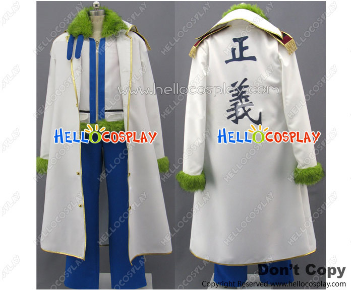 One Piece Smoker Cosplay Costume Green Fur Collar Jacket White Coat H008