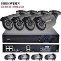 FULL HD 1080 P 4CH CCTV Sistema de Kit de Vigilância PoE PoE 4CH 1080 P NVR + 4 PCS 1080 P Câmera IP PoE Ao Ar Livre do metal + 4 PCS 18.3 M CABO