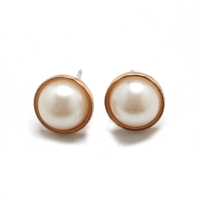 Fashion Jewelry Earrings Female Jewelry round Big Pearl Earings For Women Trendy Gold Pearl Stud Earrings JEW01171