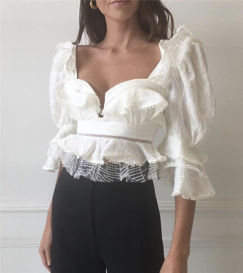 Chemisier Sexy sans bretelles femmes dentelle volants manches bouffantes évider Palazzo Blouses courtes hauts vêtements d'été 2019