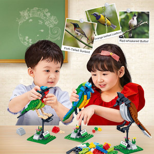 Image 4 - BanBao Building Blocks 3 Birds Set Animal Cognition Bricks with stickers Educational Toys Model for Kids Children Gift 5123