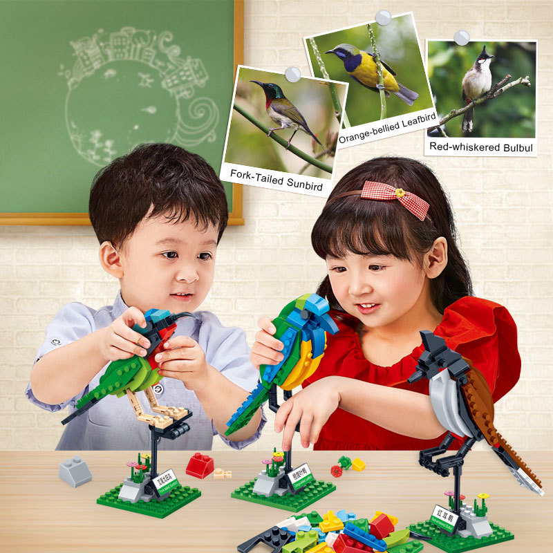 Building Blocks 3 Birds Set Animal Cognition Bricks Toys Model for Kids Children
