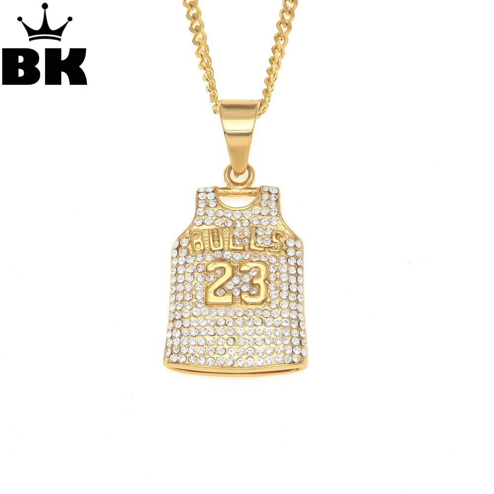 Mens Bulls 23 Jersey Pendant Necklace Stainless Steel Gold Color Round Cut Rhinestone Simulated Diamonds Sporting Jewelry Sports Jewelry Necklace Stainless Steelpendant Necklace Aliexpress