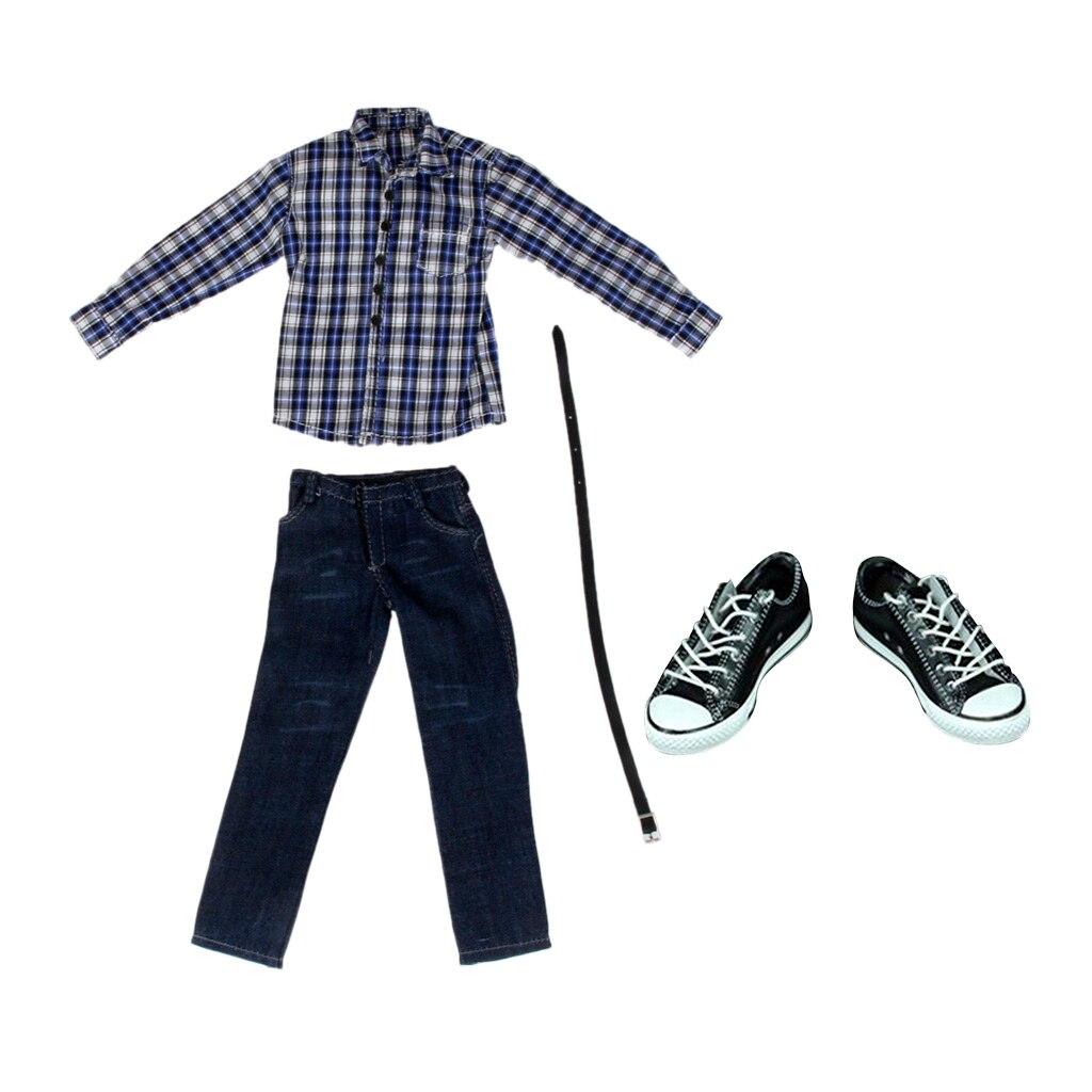 1//6 Clothes Black T-shirt Jeans Set for 12/'/' Hot Toys Sideshow Action Figure