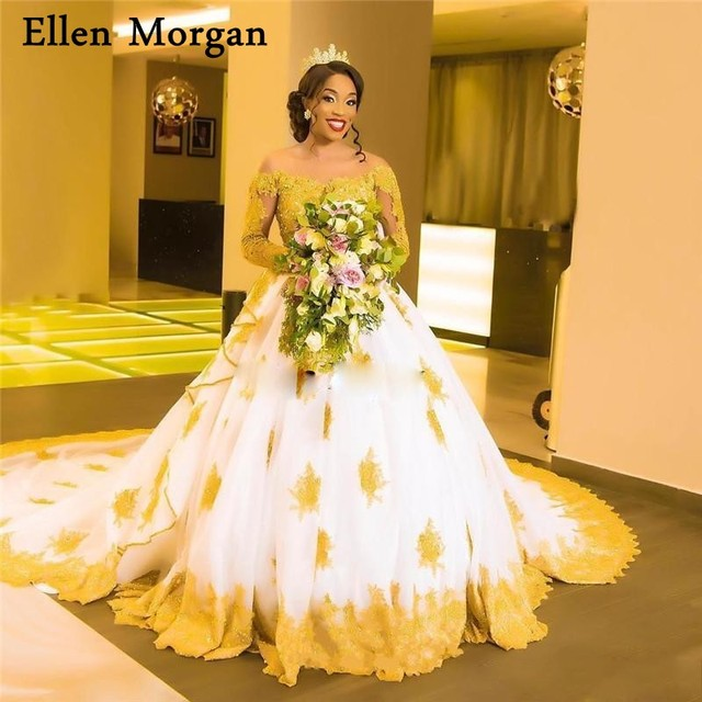 African Black Girls White With Gold Lace Wedding Dresses 2019 Long