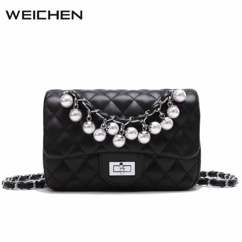 Diamond Lattice Leather Bags Women Messenger Bag Black Pearl Lady Small Crossbody Bags For Women Shoulder Bag Girl Bolso Mujer fashion sheepskin mini women bag retro small fragrant bag chain diamond lattice small shoulder bags hasp women messenger bags