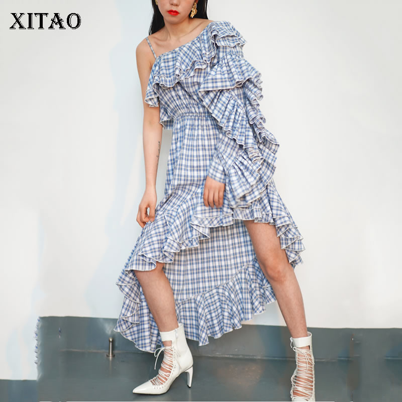 XITAO 2019 Spring Summer Europe Fashion Plaid Full Sleeve Patchwork Asymmetrical Butterfly Sleeve Match All