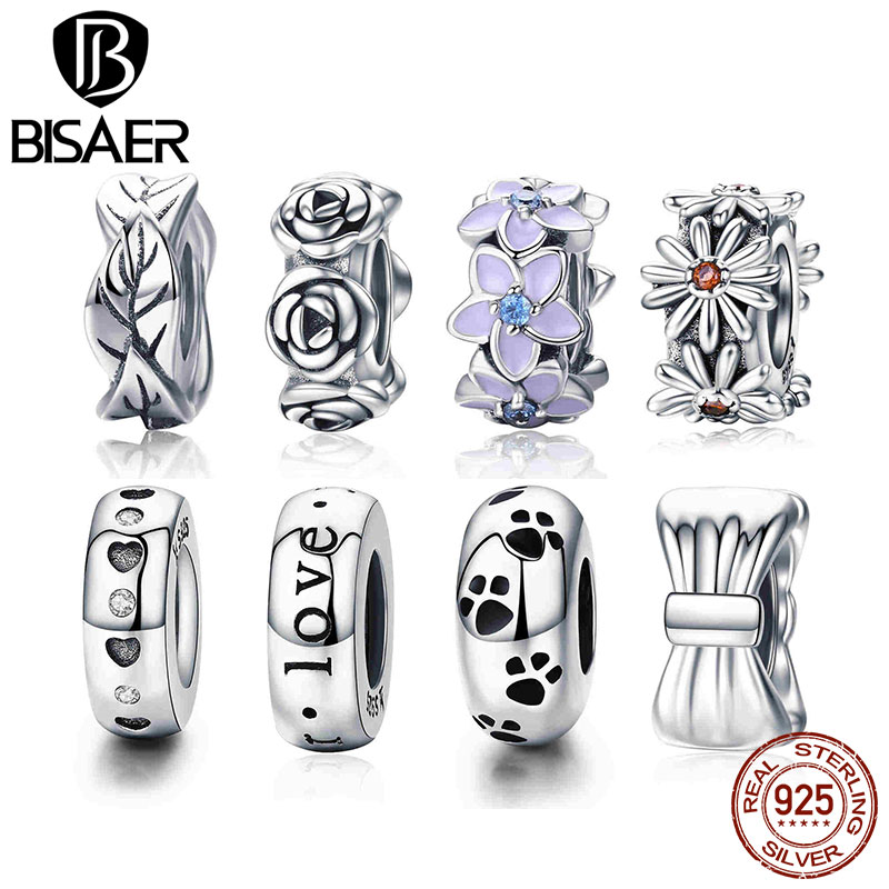 BISAER 100% 925 Sterling Silver Spacer Tree Leaves Leaf Stopper Beads fit Femme Bracelet & Bangles 925 Silver Jewelry GXC597