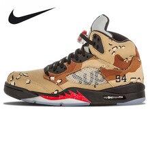 """Nike Air Jordan 5 Retro Supreme """"Supreme"""" Men's Basketball Shoes Sneakers,Original Outdoor Damping Shoes 824371 201"""