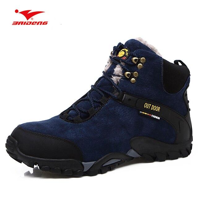 f9dcddf13 Baideng непромокаемые замшевые походные Трекинговые ботинки с высоким  берцем теплые зимние альпинистские походные ботинки зимние износостойкие