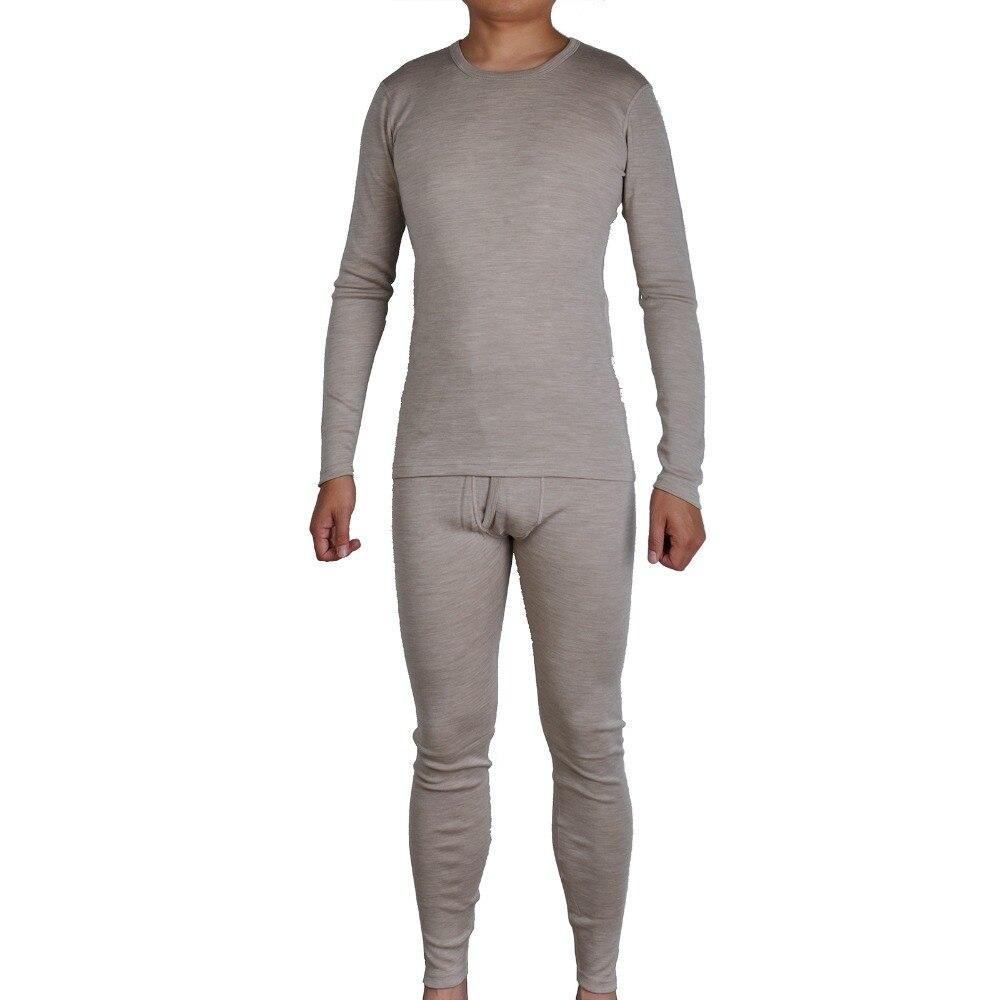 Hommes Pur 300g/m2 100% Mérinos Laine Hiver Manches Longues Thermique Chaud Épais Chandail Sous-Vêtements Épais Tops Johns fond Ensemble