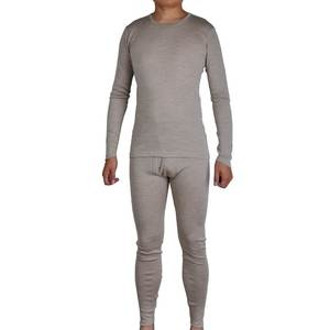 Underwear 100%Merino-Wool Sweater Long-Sleeves Warm Men Winter Pure Thick Tops Johns-Bottom-Set