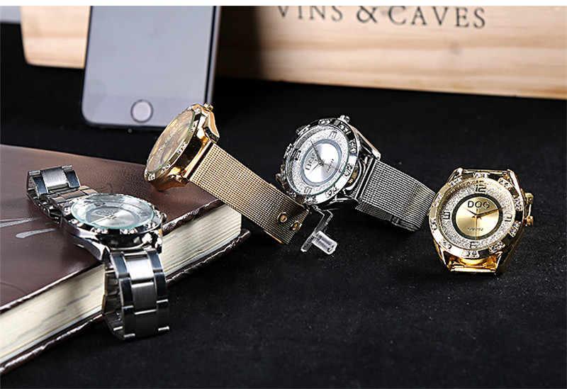 Relogios 2018 offre spéciale mode classique DQG hommes femmes de luxe cristal argent doré en acier inoxydable décontracté montres à Quartz Chasy